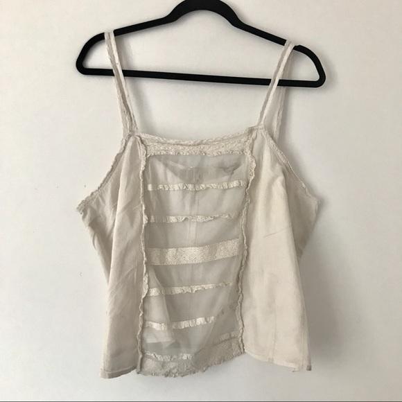 Cottagecore Beige Mesh & Lace Strap Top - Size XL